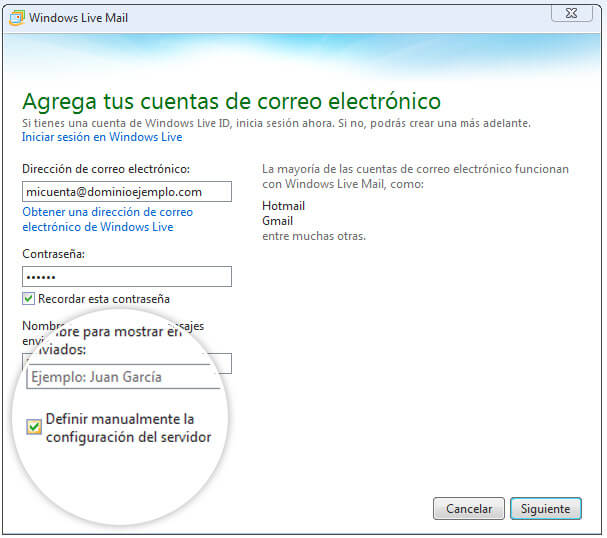 Configurar Correo Windows Live Gmail